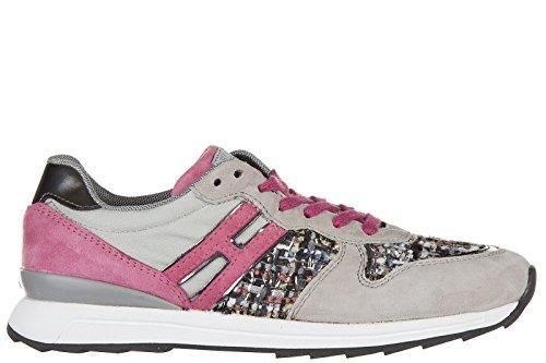 Hogan Rebel scarpe sneakers bimba bambina camoscio r261 grigio