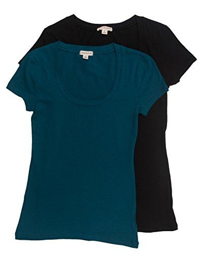 2 Pack Zenana Women's Basic Scoop Neck T-Shirt Med Black, Teal