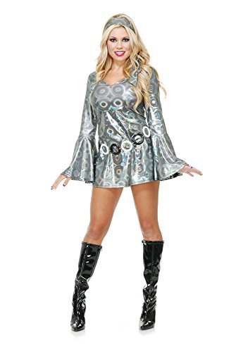 (Charades Women's Silver Circles Disco Queen,)
