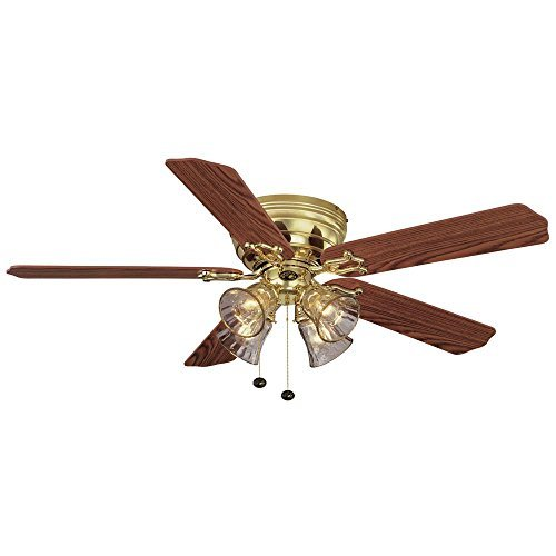 Hampton Bay Carriage House 52 in. LED Indoor Polished Brass Ceiling Fan with Light -