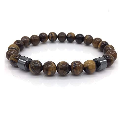 Pollero Prayer Bracelet Black Matte and Brown Smooth Finish Bead with Cylinder Hematite Stone ()