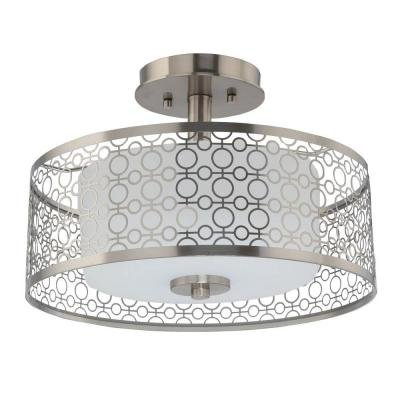 Home Decorators 7914HDC 1-Light Brushed Nickel LED Semi-Flush Mount Light