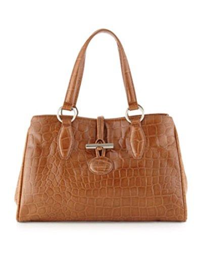 Charles Jourdan Paris Sacha 2 Luxurious Croc Embossed Tan Leather Triple Entry Bistro Satchel Handbag