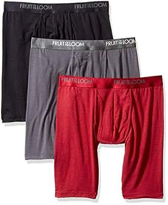 Fruit of the Loom Mens LXP3LL6C Premium Luxe Modal Blend Long Leg Boxer Briefs Underwear - Multi - Small
