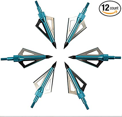 6Pcs Black Broadheads Crossbow Compound Bow Arrow Head Tips Bolts 125grn Hunting