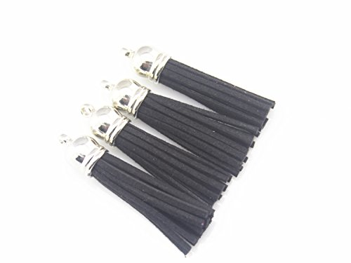 Black Faux Suede Tassel - 30 Silver Cap 2-1/4 Inch Faux Suede Tassel Tassel Charm with CCB Cap for Keychain Cellphone Straps Jewelry Charms (black)
