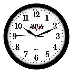 School Smart Silent Movement Wall Clock, 13 Inches, White Dial and Black Frame - SSG-0004