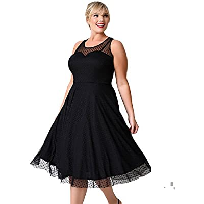 Kilolone Women's Vintage Sexy Plus Size Dress A-Line Evening Party Lace Sleeveless Cocktail Dress