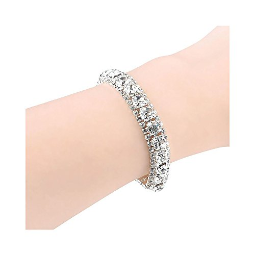 Simply Silver - Elegant Fashion Crystal Rhinestone Bracelet Bangle Wedding Bridal Wristband