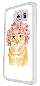 937 - Cool cute fun cat kitten felibe pet love curlers funny illustration art ginger cat Design For Samsung Galaxy S6 Fashion Trend CASE Back COVER Plastic&Thin Metal - White