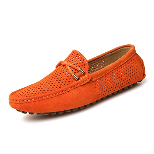 Cuir Bateau Chaussures Respirant Hommes Casual Penny Mocassins Orange Suede En Sur Slip Lumino Mens 7qz5wt65
