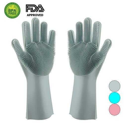 (Magic Silicone Dishwashing Gloves Scrubber-Silicon Rubber Brush Cleaning Gloves with Wash Scrubber for Kitchen,Household, Washing Car, Pet Hair Care (Light Blue))