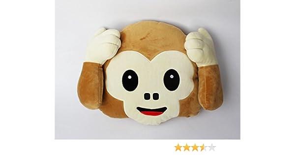 Xbeayun Cojín Almohada Peluches de Emoticonos Mono (no Escuchar): Amazon.es: Hogar