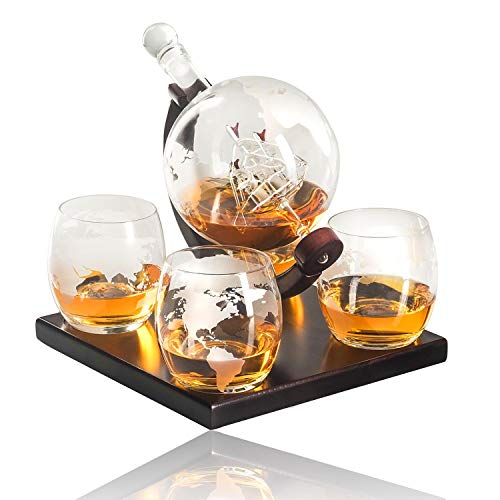 NanBoona Whiskey Decanter Set, Etched Globe Decanter Antique Ship 1000 ml Perfect Gift with 4 Etched Globe Whisky Glasses for Liquor Scotch Bourbon Vodka Rum