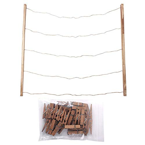 Wood Picture Photo Frame Wall Decor 26×29 inch 30 Clips Ajustable Twines Artworks Prints Multi Pictures Organizer Hanging Display Frames by DANAHENG (Image #8)