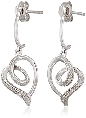 Sterling Silver Diamond Tendrils Heart Earrings (1/20 cttw)