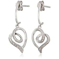 Sterling Silver Diamond Tendrils Heart Earrings (1/20 cttw)