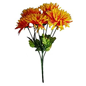 MM TJ Products Artificial Chrysanthemum Bush; 7 Stems (L/Orange) (1) 119