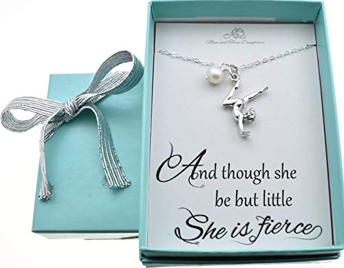 Girl's, Teen's, Woman's Sterling Silver Gymnast Charm Pedant On a Sterling Silver Cable Chain With Freshwater Pearl, Gymnast Charm, Gymnast]()