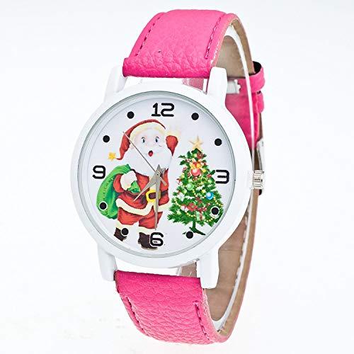 Santos Steel Watch - Waist Watch Christmas Gift Lady Glass Mirror Stainless Steel Case Watch Santa Claus Pattern Watches Clock Relogio Masculino Gift