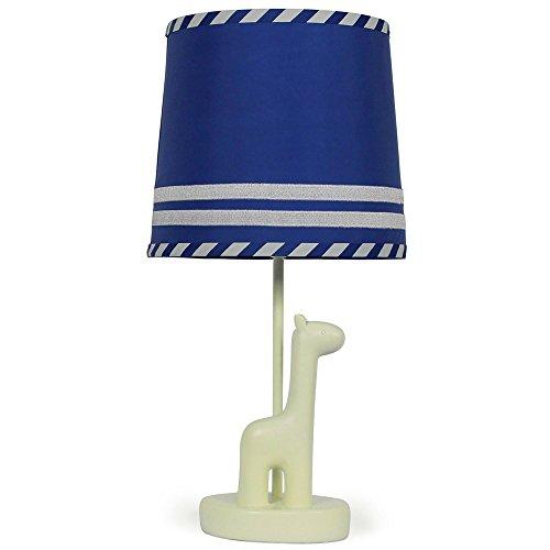 Royal Blue Nursery Lamp Shade with White Giraffe Base, CFL Bulb Included