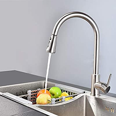SHAMANDA Brass Kitchen Faucet High Arc Spring Kitchen Sink Faucet with Sprayer Single Handle/Hole Pull Down Bar Sink Faucet, L60001-P