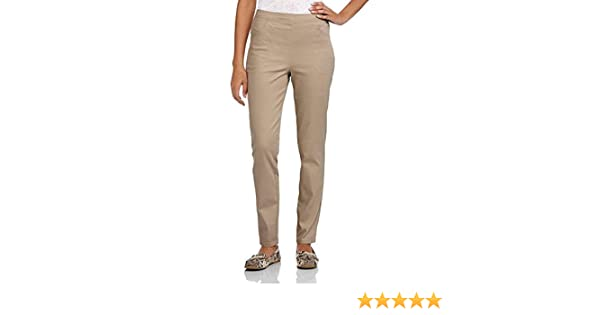 ae0823eac1347 White Stag Women's Flat Front Back Elastic Stretch Denim Pants (Regular &  Petite) (XX-Large, Brownstone) at Amazon Women's Clothing store: