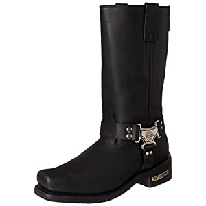 Milwaukee Motorcycle Clothing Company Classic Harness Leather Men's Motorcycle Boots (Black, Size 10EEE)