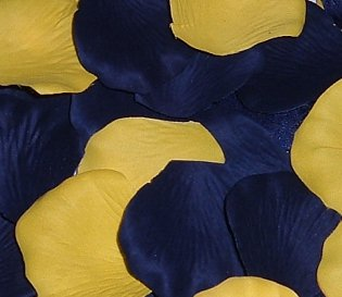 Blue Yellow Wedding Flowers - IGC 200 Silk Rose Petals Wedding Favors-Multi Colors - Navy Blue & Yellow - Wedding Reception and Party Supplies