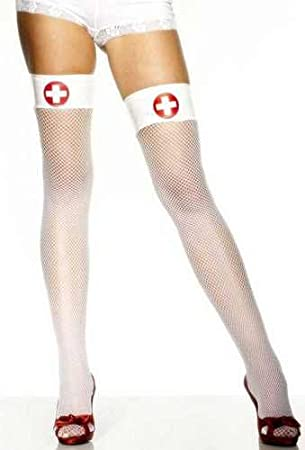 a2fb3dd45 NEW NURSE HOLD UP FISHNET TIGHTS STOCKINGS FANCY DRESS  Amazon.co.uk  Toys    Games