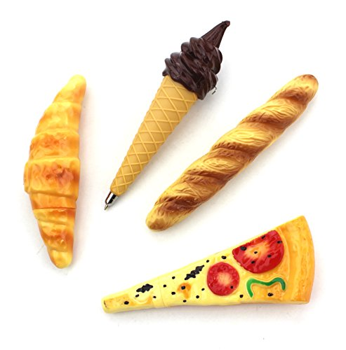 Set of 4 - Novelty Pizza, Bread, Hot Dog & Ice Cream Ball-Point Toy Pen with Magnet Funny Magnetic Refrigerator Ball Pen / Collectible Fridge Ballpoint Pens for School, Store, Office Stationery