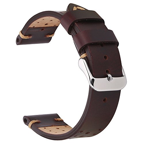 EACHE 18mm Genunie Leather Watch Band Dark Brown Vegetable-Tanned Leather Perforated Replacement Wrist Strap