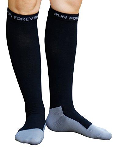 Compression Socks for Women and Men Athletic Running Socks for Nurses Medical Graduated Nursing Compression Socks for Travel Running Sports Socks (Large, Black)