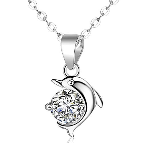 DXZN Dolphin Pendant Necklace 925 Sterling Silver Women Jewelry for Mother's Day Wedding Anniversary Girls Birthday Gift