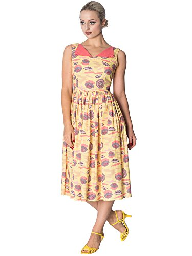 Dress Parasol Banned Days Allover Dancing Contrast Retro Kleid Cream 5469 by pZwRWx6O