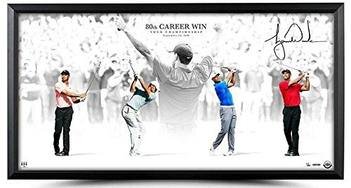 Tiger Woods Autographed Vctory 80th Career Win 36 x 18 Custom Framed Photo - Upper Deck Certified - Golf Plaques and Collages