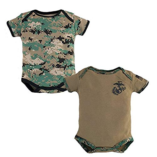 Baby Bodysuits 2 Pk. USMC Woodland Camo and Coyote Brown (3-6 Months) -