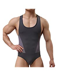 Yuntown Men Jumpsuit Underwear Sportswear Singlet Leotard Bodysuit -L30