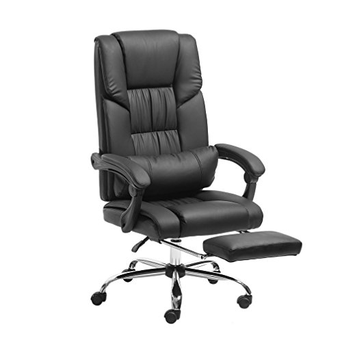 - Water-chestnut High-Back Executive Swivel Office Chair with Retractable Footrest (170° leaned, 360° Swivel & Nylon Casters, Black)