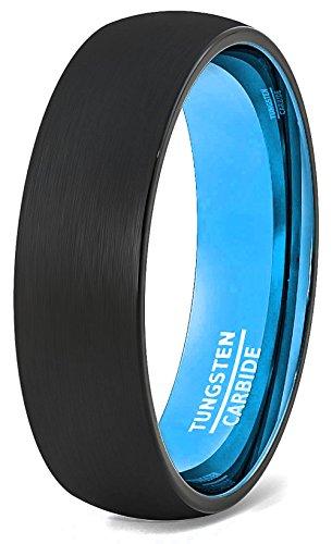 Mens Wedding Band 6mm Black Brushed Inside Aqua Teal Blue Dome Comfort Fit (10)