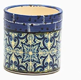 Ohah Craft Small Succulent Plant Pot – 2.75 Inch Barcelona Pattern Cylindrical Ceramic Planter for Cactus, Succulent Planting, Without Drainage Hole Royal Blue