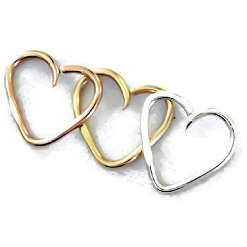 14K Solid Rose/Yellow/White Gold Swirl Heart Daith Cartilage Hoop Earring Tragus Helix Body Jewelry Heart Piercing Ring 24G 22G 20G 18G 16G