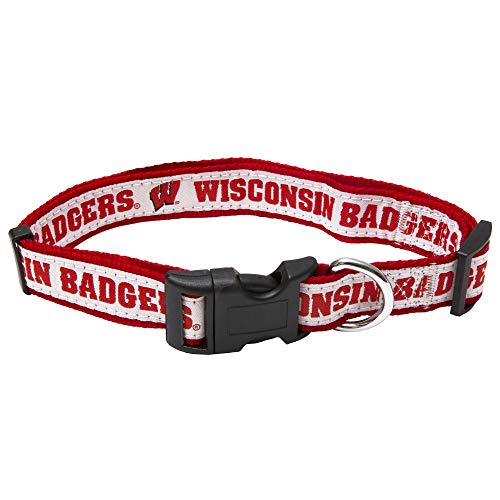 Pets First Collegiate Pet Accessories, Dog Collar, Wisconsin Badgers, Medium ()