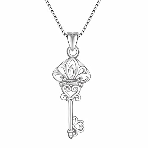 Angemiel 925 Sterling Silver Good Luck Key Vintage Pendant Necklace Gift for Women Girl, Box Chain 18