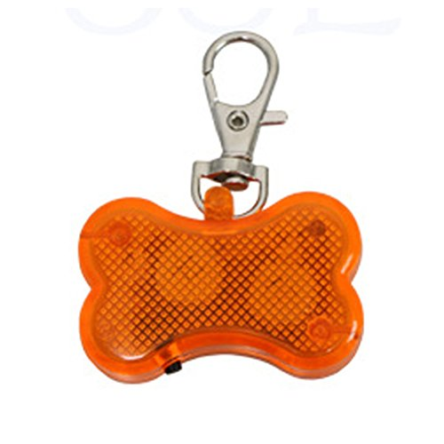 ZX101 Creative Dog Bling Rhinestone Tags LED Light Up Dog Bone Shape ID Tag Pet Safety Collar Pendant for Outdoor Walking (Orange) Tag Bone Shape Led