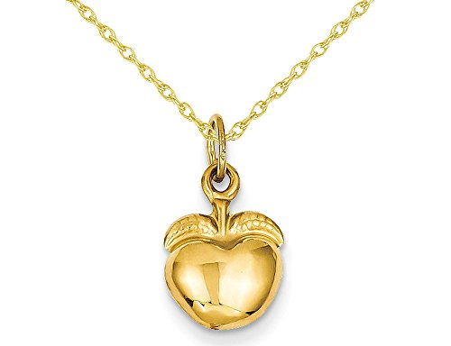 (Golden Apple Charm Pendant Necklace in 14K Yellow Gold with Chain)