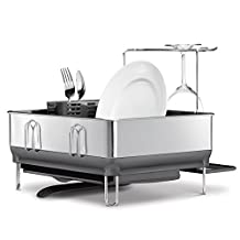 simplehuman Compact Steel Frame Dishrack with Wineglass Holder, Stainless Steel, Grey