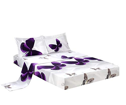 HIG 3D Bed Sheet Set -4 Piece 3D Purple Butterfly Reactive Printed Sheet Set King Size (Y34) - Soft, Breathable, Hypoallergenic, Fade Resistant -Includes 1 Flat Sheet,1 Fitted Sheet,2 Shams
