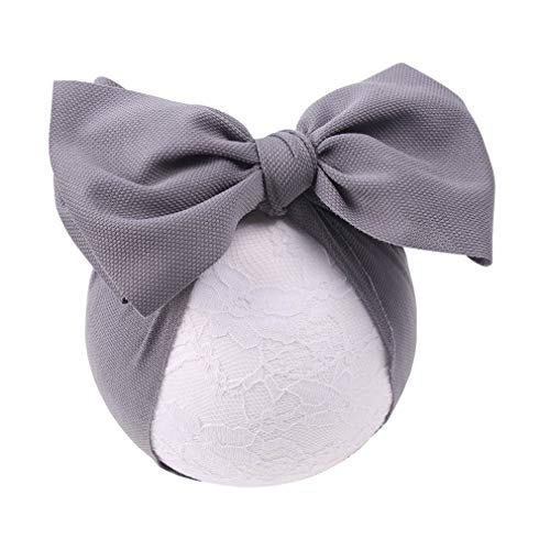 (YanJie Baby Large Bows Headwrap Stretch Textured Fabric Top Knot Turban Headband Hair Accessories (gray))