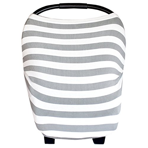 """Baby Car Seat Cover Canopy and Nursing Cover Multi-Use Stretchy 5 in 1 Gift """"The Harbor"""" by Copper Pearl"""